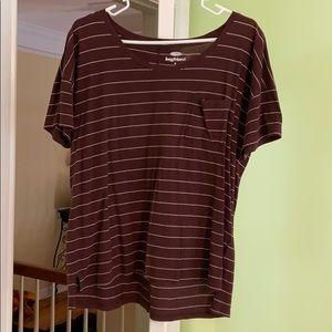Maroon striped  tshirt